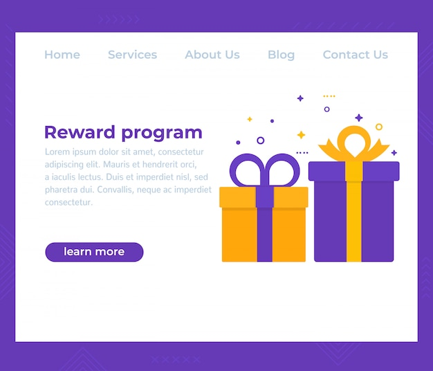 Программа вознаграждений, дизайн сайта