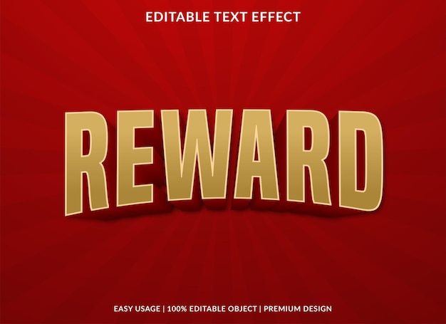 Reward text effect template with bold style use for brand typography