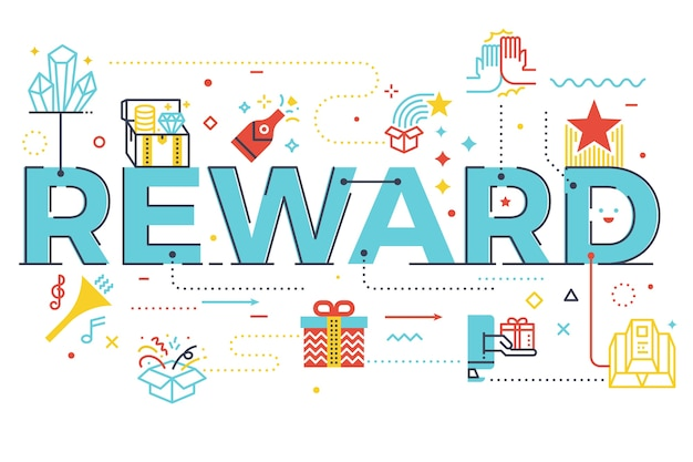 Reward word lettering illustration