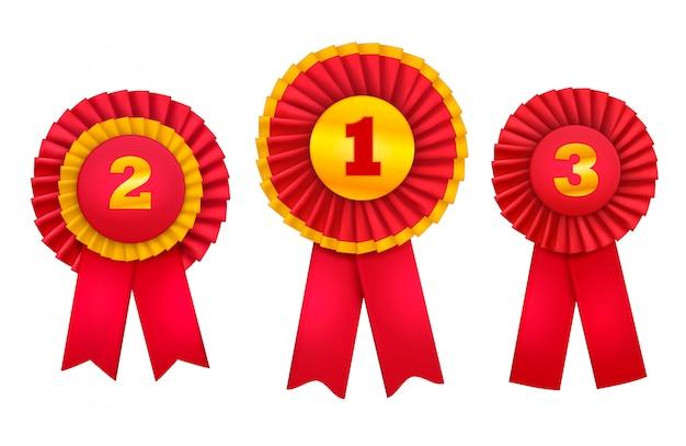やりがいのあるバッジロゼットは、赤いリボンで飾られた上位の勝者の注文の現実的なセットを与えます