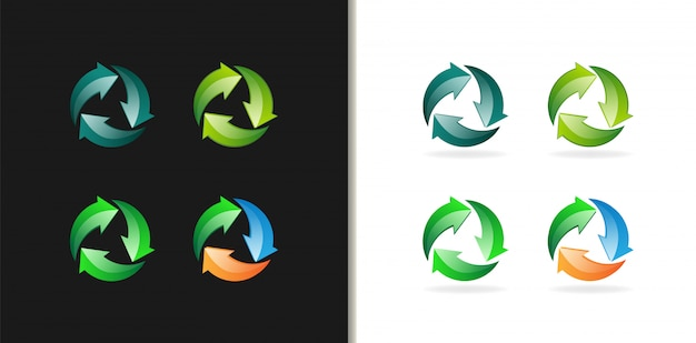 Reycycle symbol colorfull logo 3d