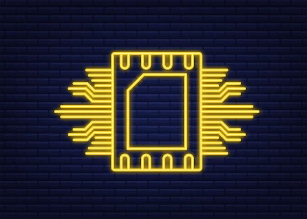 Rfid無線周波数識別。技術コンセプト。デジタル技術。ネオンスタイル。ベクトルストックイラスト。