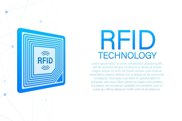Rfid radio frequency identification. technology concept. digital technology.  stock illustration.