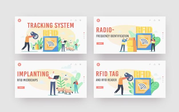 Rfid追跡システムのランディングページテンプレートセット。無線周波数識別タグ技術。貨物の小さなキャラクターは配達電磁トラックとリーダーを使用します。漫画の人々のベクトル図