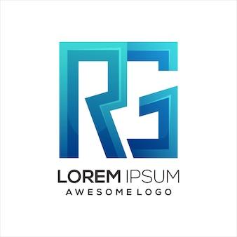 Rg letter logo colorful gradient illustration Premium Vector
