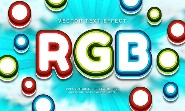 Rgb 3d editable text style effect with red, green, blue color