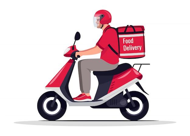 Городская доставка еды полу плоская rgb цветная иллюстрация