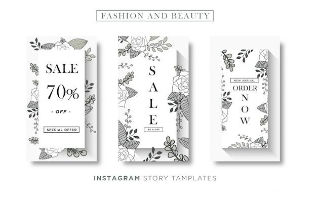 基本的なrgbfloralファッションと美容バナーソーシャルメディアまたはinstagramストーリーテンプレート