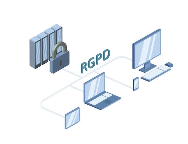 Rgpd、gdprのスペイン語版およびイタリア語版、regolamento generale sulla protezione dei dati。白で隔離される概念等角投影図。一般データ保護規則。