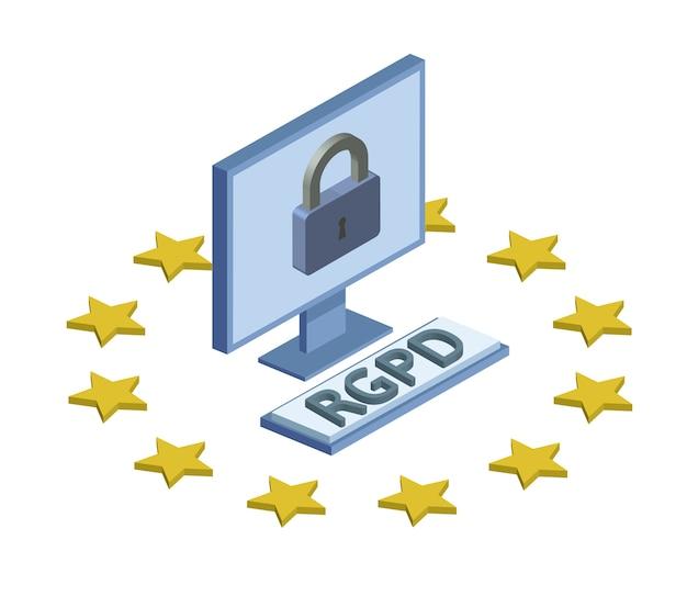 Gdprのrgpd、スペイン語、フランス語、イタリア語バージョン。一般データ保護規則。コンセプト等尺性イラスト。個人データの保護。白い背景で隔離。