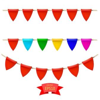 ロープの上の色とりどりの旗の基本的なrgset。あなたのデザインの要素ベクトルイラスト