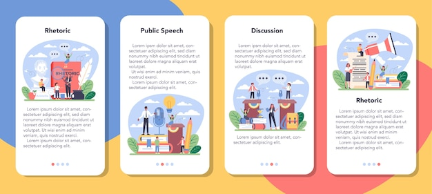 Rhetoric or elocution school class mobile application banner set.
