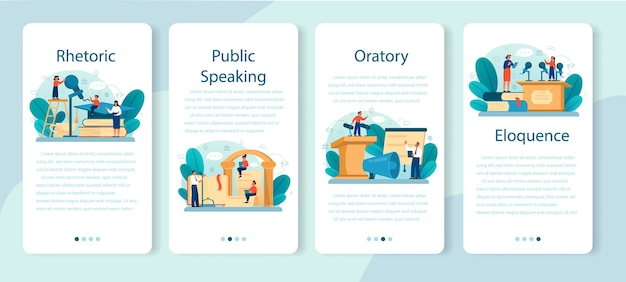Rhetoric or elocution school class mobile application banner set