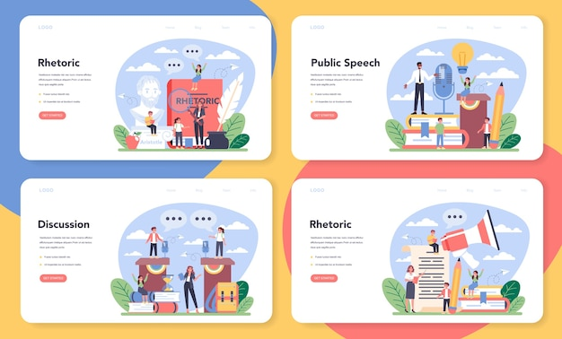 Rhetoric or elocution school class web banner or landing page set