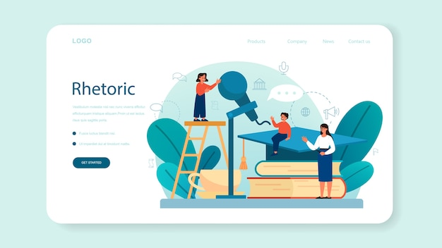 Rhetoric or elocution school class web banner or landing page