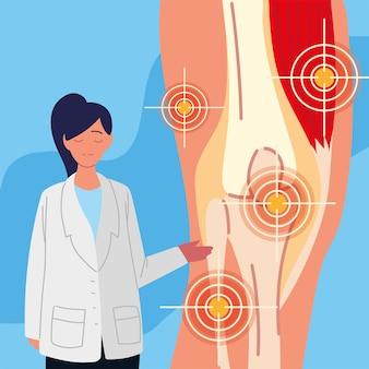Rheumatology woman doctor and knee pain