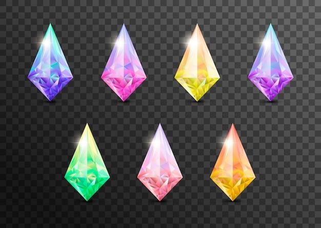 Драгоценные камни и драгоценные камни, ювелирные изделия. rhinestone и блестящий, сапфир и аметист, аквамарин и турмалин, алмаз и изумруд, кварц и рубин драгоценных камней, агат, изолированные на прозрачном