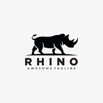 Rhino abstract logo design  silhouette