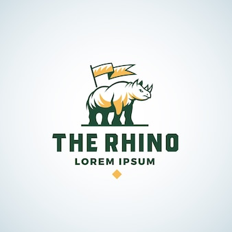 Rhino abstract  sign, symbol or logo template.