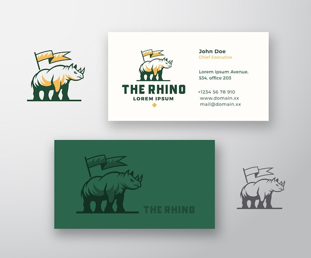 Rhino abstract vector sign or logo and business card template