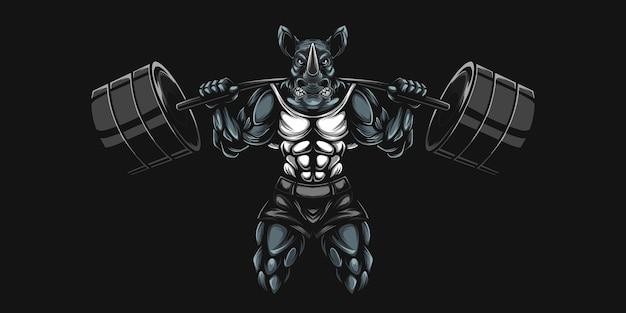 Носорог и гантель тяжелая иллюстрация