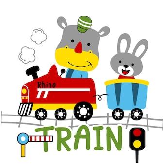 기차에 코뿔소와 토끼 재미있는 동물 만화