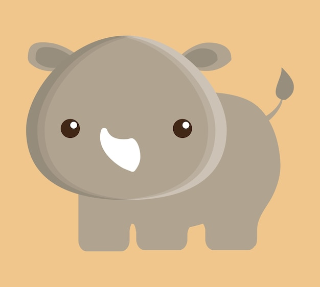 Rhino animal cute little cartoon icon