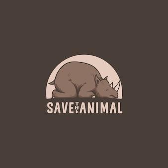 Сохранить rhino animal logo иллюстрация