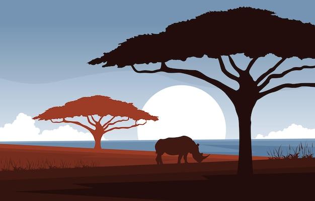 Rhino 동물 사바나 풍경 아프리카 야생 동물 그림