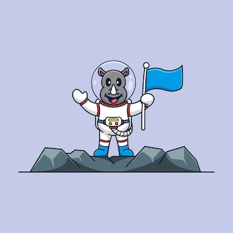 Rhino astronaut to the moon cartoon mascot template