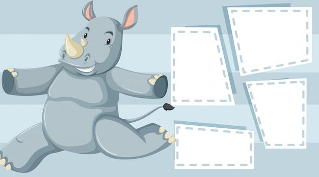 A rhino on blank note