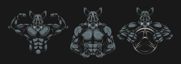 Носорог бодибилдер иллюстрация