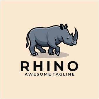 Rhino cartoon illustration logo design flat color