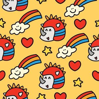 Носорог каракули мультфильм бесшовный фон дизайн