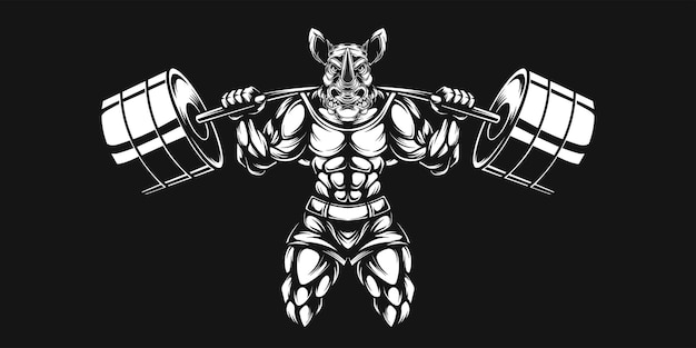 Rhino  and dumbell, black and white illustration