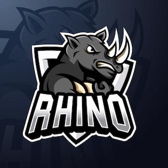 Rhino esport mascot logo premium