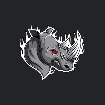 Rhino esport талисман дизайн логотипа