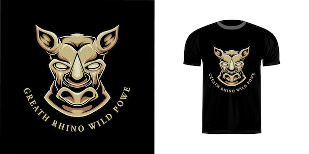 T- 셔츠 디자인을위한 코뿔소 머리 그림