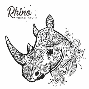 Rhino head tribal style hand drawn