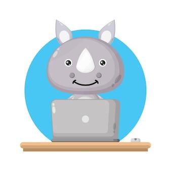 Rhinoノートパソコンかわいいキャラクターのロゴ