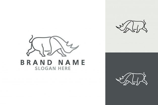 Rhino logo vector. rhino line art logo inspiration