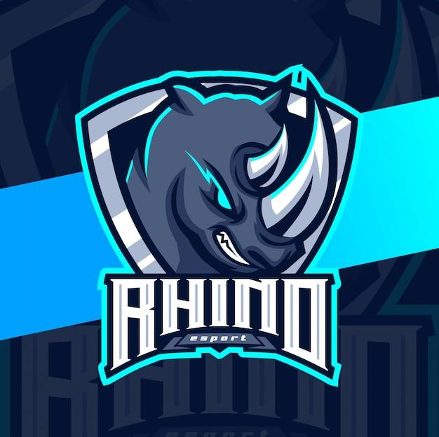 Rhino mascot epsort logo design