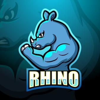 Rhino mascot esport logo design