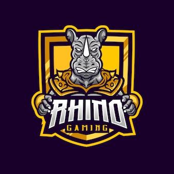 Rhino mascot logo gaming armored