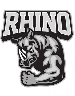 Rhino mascot showing his muscle arm