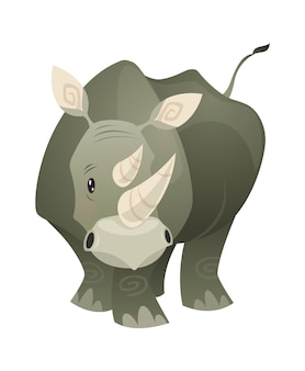 Rhino。強いジャングルサイサバンナ灰色の巨大な動物、野生動物のトレンディなエキゾチックな幼稚なプリント、アフリカの動物相の哺乳類。ベクトルフラット漫画単一の孤立したイラスト