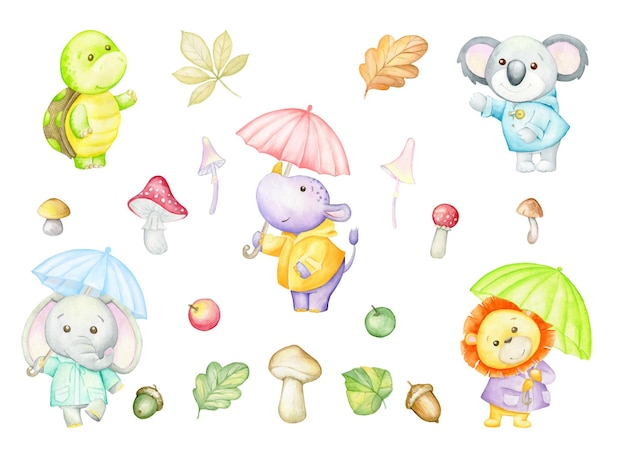 Носорог, черепаха, лев, слон, коала, зонтики, осенние листья, грибы, яблоки, акварель, набор, мультяшный стиль.