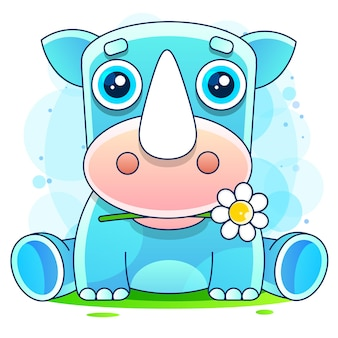 Rhino with flower.