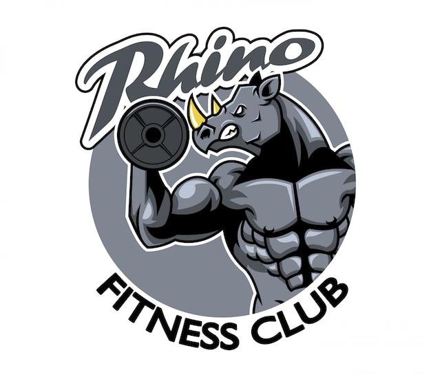 Векторная иллюстрация логотип фитнес-клуба rhino
