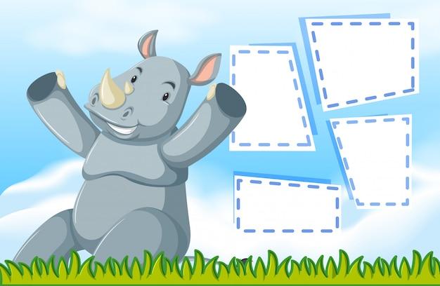 A rhinoceros on blank note